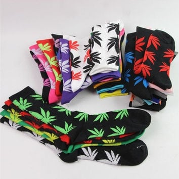 1Pair Winter Cotton Long Thick Sock Marijuana Weed  Maple Leaf Sport Socks Ankle Crew Women/Men [8833401164]