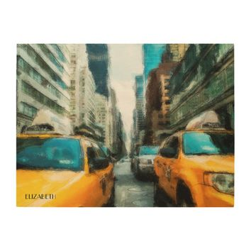 Yellow Taxi Cabs After Rain In New York City Wood Wall Art