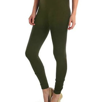 Olive Fleece Leggings
