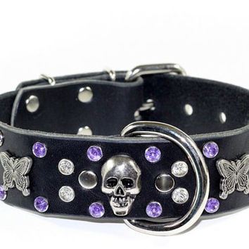 "Black Leather Crystal Dog Collar - 1-1/2"" Purple Crystal Skull Leather Dog Collar - Black Crystal Leather Dog Collar"