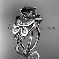 14kt white gold diamond celtic trinity knot wedding ring,butterfly engagement ring with a Black Diamond center stone CT7136