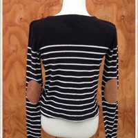 Striped Sweater with Elbow Patches (Black OR Navy Blue)