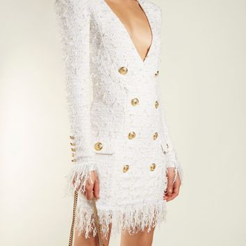 V-neck button-embellished dress | Balmain | MATCHESFASHION.COM US