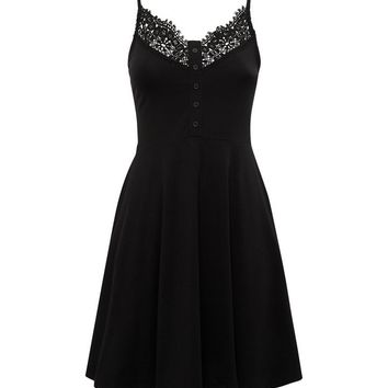Petite Black Crochet Trim Skater Dress | New Look