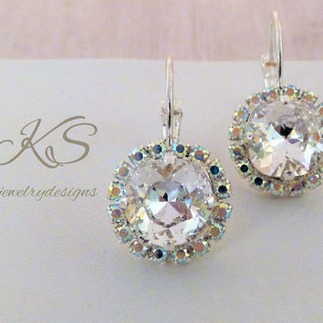 Swarovski Crystal Earrings, 10MM, Square Cushion Cut, AB Halo, Bridal, Dangles, DKSJewelrydesigns, FREE SHIPPING