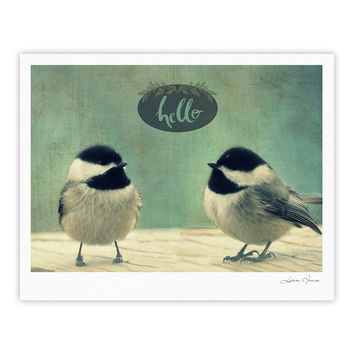 "Robin Dickinson ""Hello Birds"" Green Typography Fine Art Gallery Print"
