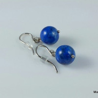 Lapis Dangle Earrings With Sterling Silver Hooks