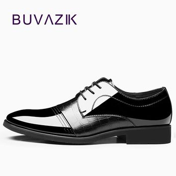 New 2018 black shiny oxfords microfiber shoes for men lace up fashion formal office shoe mens alligator shoes