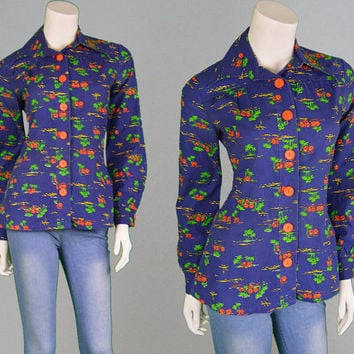 Vintage 70s Mod Blouse Womens Shirt Pointed Collar Dagger Collar Blue Shirt Novelty Print 1970s Shirt Hawaiian Shirt Tropical Shirt Boho
