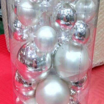 """40-Piece Silver Collection Glass Ball Christmas Ornament Set 1""""  1.25""""  2.5"""""""