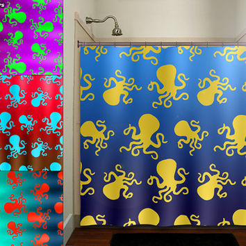 Octopus Shower Curtain Colors bathroom decor fabric kids bath white black custom duvet cover rug mat window