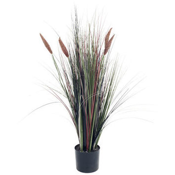 4' Ornamental Artificial Tall Cattail Grass