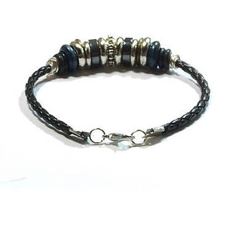 Silver Beaded Leather Bracelet  ,  Beaded Black Leather Bracelet , Black Bolo Leather , Hematite Beads