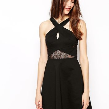 BCBGeneration Dress with Lace Detail and Cross Front
