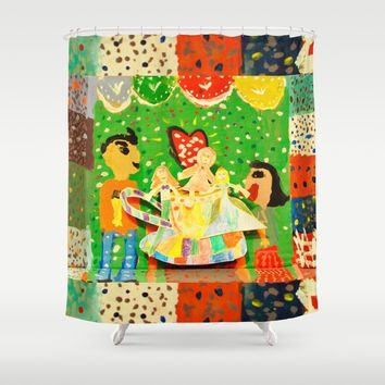 The cup of Rosalia | Full of fairy tales | Painting by Elisavet Shower Curtain by Azima