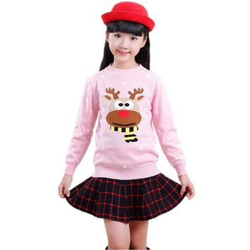 Winter Baby Girls Sweater Casual Christmas Children Clothing Knitting Toddler Pullover Girl Sweaters Pull Fille Kids Clothes