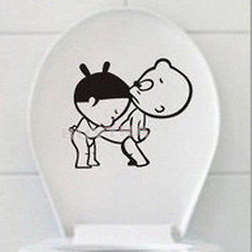 Entertaining New Toilet Decal Decor Bathroom Ensuit Vinyl Wall Sticker Sign
