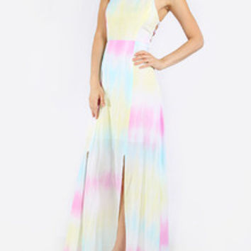 Trendy Tie-Dye Boho Summer Rainbow Criss Cross Back Maxi Dress