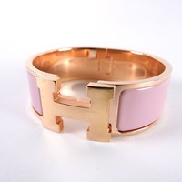 Auth HERMES Clic Clac GM H Bangle Bracelet Enamel Pink PGP Gold Plated A-6530