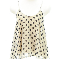 Sleeveless polka dot chiffon tank top tan color