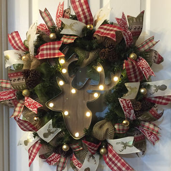 Moose Wreath,Winter Wreath,Christmas Burlap Wreath,Christmas Mesh Wreath,Holiday Mesh Wreath,Burlap Wreath,Christmas Wreath,Front Door