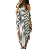 2016 Women Summer Dress Long Maxi Loose Dress Striped Batwing Sleeve Off-shoulder Split Casual Beach Wear Plus Size