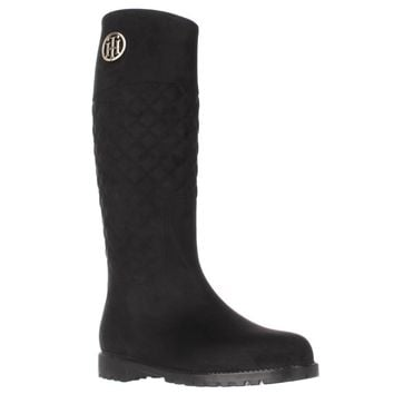 Tommy Hilfiger Babette Quilted Rain Boots, Black, 7 US