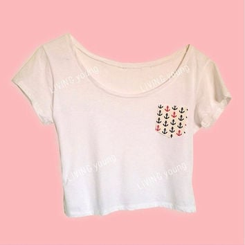 Anchor Pocket  Crop Top White Retro Custom Pocket Shirt