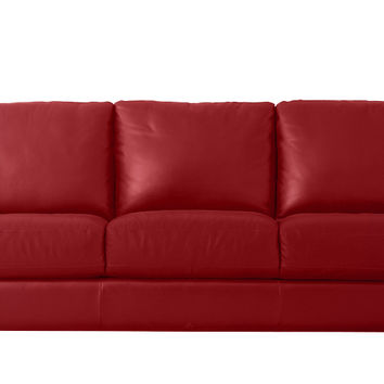Natuzzi Editions Liro Leather Queen Sleeper Sofa in Belfast Red
