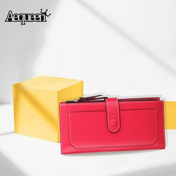 AEQUEEN PU Leather Wallet Women long Wallet Female Hasp Purse Clutch Wallet Brand Design Credit Card Holder Solid Candy Color