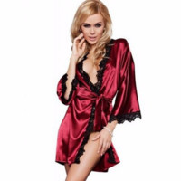 Sexy Lace Robe Babydoll Dress Lingerie