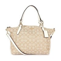 Coach Outline Signature Small Kelsey Shoulder Bag Khaki/Chalk
