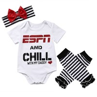 3 Pcs ESPN And Chill With Daddy Bodysuit Set
