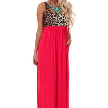 Coral Maxi Dress with Leopard Print Bodice