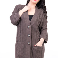 3/4 Sleeved Cable Knit Long Cardigan Available in Plus Sizes-Brown-UK 18 - EU 46