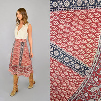 70's India Cotton BLOCK PRINT Wrap Skirt