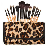 Hot Sale White 12-pcs Leopard Make-up Brush = 4830991428