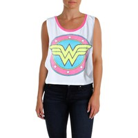 DC Comics Womens Juniors Cropped Contrast Trim Muscle Tank