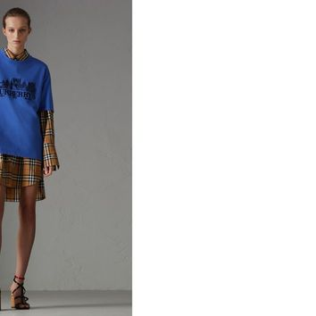 Reissued Cotton T-shirt in Cornflower Blue - Women | Burberry United States