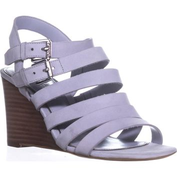 Lauren Ralph Lauren Aleigh Strappy Wedge Sandals, Chalk Grey, 7 US / 38 EU