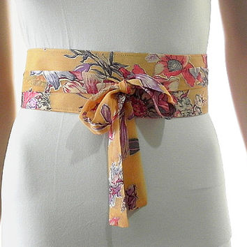 Yellow Sash Belt Obi Waist Cincher - Floral Sash Belt Obi Velvet Texture Obi Belt Waist Cincher - Sashes for Weddings Evening Formal Party