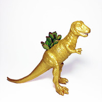 Up-cycled Gold T-Rex Dinosaur Planter