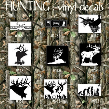 HUNTING vinyl decals - 146-153 - car decal - vinyl sticker - hunter - outdoors - nature - woods - duck - deer - custom vinyl stickers
