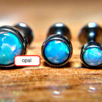 3Pcs Opal Stone Lip Stud Ear Cartiliage Tragus Helix Piercing