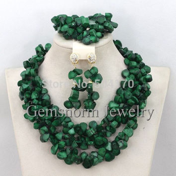 New Arrival! Fashion Green Nigerian Coral Beads Jewelry Set Indian Bridal Beads Necklace Set Free Shipping CNR263