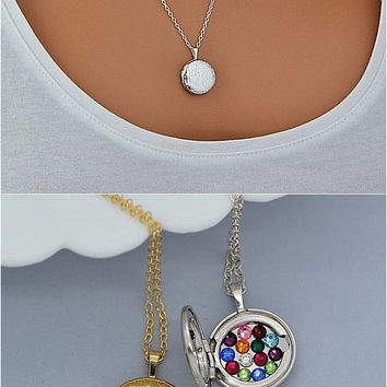 Locket Necklace with Birthstone, Birthstone Locket, Tree of Life Locket, Gold Locket Necklace, Mother's Day Gift, Mom Gift, Gold, Silver