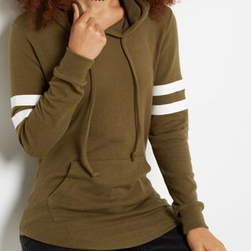 Olive Varsity Striped Tunic Hoodie | Hoodies | rue21
