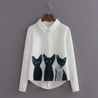 Cat Print Women Chiffon Shirts Blouse Pullovers = 1876508868