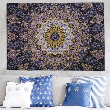 Gold Totem Elephant Mandala Tablecloth Wall Hanging Tapestry Moroccan Indian Printed Decorative Wall Elephant Tapestries 200x148cm