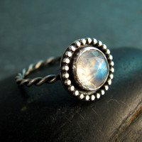 Rainbow Moonstone Ring in Sterling Silver with Granulated Setting - Made to order in your size - June Birthstone - Gemstone Statement Ring